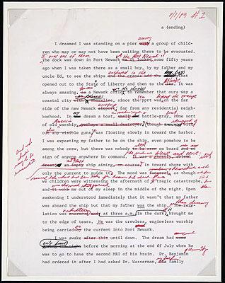 Manuscript page of Philip Roths emPatrimony/em