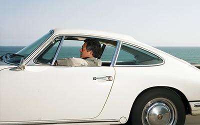 White Porsche on Hwy 101